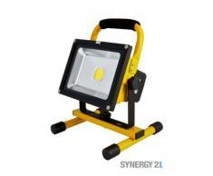 SYNERGY21 LED Fluter AKKU 20W kaltweiß 1600lm V1 IP65 Tragegestell gelb EEK:A+