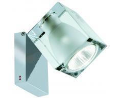 Fabbian Cubetto Wand- und Deckenleuchte, bis zu 90° verstellbar, chrom, weißes Glas (GU10)