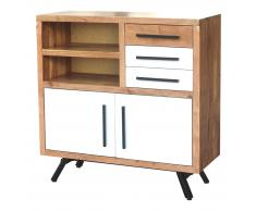 Highboard 108x108cm 'Cartago' Akazie & weiß