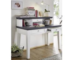 Schreibtisch mit Aufsatz 'Luzern' Paulownia Holz weiß