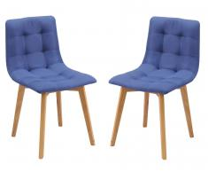 Stuhl 2er-Set 'Ben' Eiche Bezug blau