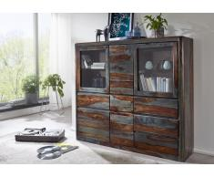 "Highboard 166cm ""Mumbai"" Sheesham lackiert/grau"