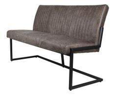 Sitzbank 170cm 'Texas' Polster braun & Eisen schwarz
