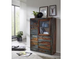 "Highboard 109cm ""Mumbai"" Sheesham lackiert/grau"