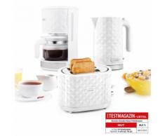 Klarstein Frühstücksset Granada Bianca Kaffeemaschine Wasserkocher Toaster