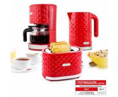 Klarstein Frühstücksset Granada Rossa Kaffeemaschine Wasserkocher Toaster rot