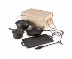 Klarstein Hotrod Masterplan Dutch Oven Set 7-teilig BBQ Topfset Gusseisen