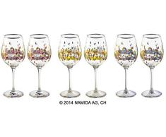 Friedensreich Hundertwasser: 6er-Set Weingläser 'BEAUTY IS A PANACEA - Platin - Weißwein'