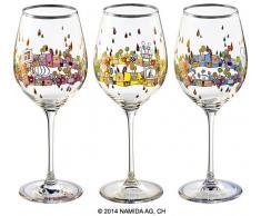 Friedensreich Hundertwasser: 3er-Set Weingläser 'BEAUTY IS A PANACEA - Platin - Weißwein'