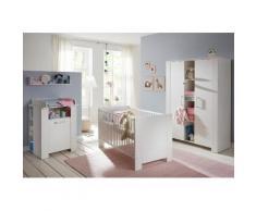 Komplettzimmer »Oslo« Babybett + Wickelkommode + breiter Kleiderschrank, (3-tlg.) in pinie Struktur NB /weiß, weiß, piniefarben weiß