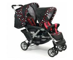 CHIC4BABY Geschwisterwagen mit herausnehmbarer Baby Tragetasche, »Duo dots«, schwarz, Kinder, dots