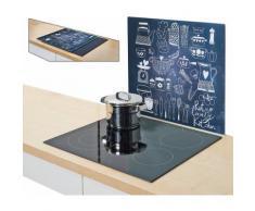 Zeller Present Herdblende-/Abdeckplatte »Lovely Kitchen«, 56 x 50 cm, schwarz, Unisex, schwarz