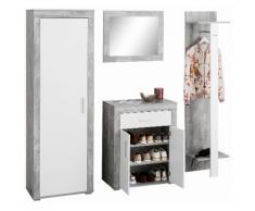 Garderoben-Set »Lake« (4-tlg.), weiß, betonfarben/weiß
