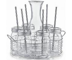 Zeller Present Glaskaraffe-/Gläser-Set, Glas/Metall, 8 Teile, transparent, Unisex, transparent/silberfarben