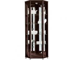 Eckvitrine, Höhe 172 cm, 4 Glasböden, braun, wengefarben