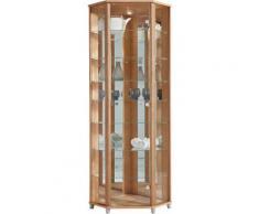 Eckvitrine, Höhe 172 cm, 7 Glasböden, braun, nocefarben