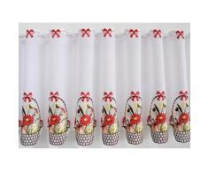 Scheibengardine, Stickereien Plauen, »Obstkorb«, mit Stangendurchzug, mit echter Plauener Spitze Stickerei (1 Stück), bunt, bunt