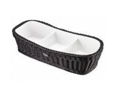 Saleen Schale, Porzellan, rechteckig, weiß, Unisex, Schale weiß/Korb schwarz