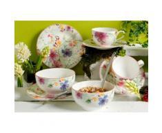 Frühstück-Set, Premium-Porzellan, »Mariefleur Basic«, Villeroy & Boch (8tlg.), weiß, Unisex, creme-weiß mit floralem Dekor