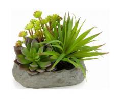 Home affaire Kunstpflanze »Succulente« auf Stein, grün, grün