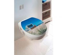 Wenko WC-Sitz Hochglanz Acryl Strandkorb, Absenkautomatik, Fix-Clip Hygiene Befestigung, bunt, Mehrfarbig