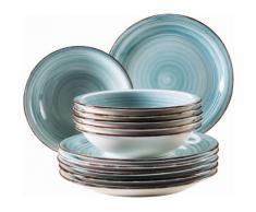 Domestic by Maeser Tafelservice, Keramik, 12 Teile, »BEL TEMPO«, blau, Unisex, hellblau