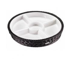 Saleen Menüteller, Porzellan, rund, weiß, Schale weiß/Korb schwarz