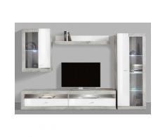 Wohnwand (4-tlg.), grau, Beton-Optik/weiß Hochglanz