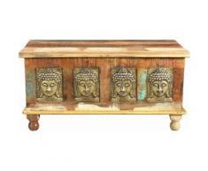 THE WOOD TIMES Truhen-Couchtisch «Buddha», Breite 90 cm, braun, braun/gold/beige