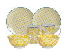 Ritzenhoff & Breker Frühstück-Set, gelb, Porzellan, 6 Teile, »MAKINA«, gelb, Unisex, gelb/weiß/blau