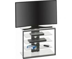 Maja Möbel TV-Rack, Höhe 65,6 cm, grau, Metall anthrazit/Klarglas