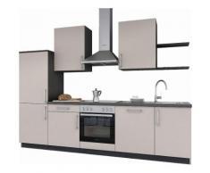set one by Musterring Küchenzeile »Turin« mit E-Geräten, Breite 290 cm, braun, seidenbeige Samtlack