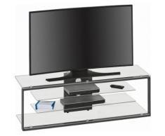 Maja Möbel TV-Rack, Breite: 130 bzw. 160 cm, grau, Metall anthrazit/Klarglas