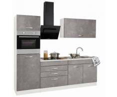 HELD MÖBEL Küchenzeile mit E-Geräten »York«, Breite 240 cm, grau, betonfarben