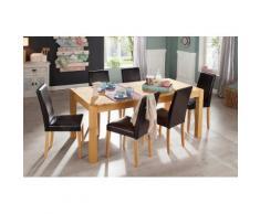 Home affaire Essgruppe (9-tlg.), aus massivem Kiefernholz, natur, Tisch und Stuhlbeine gelaugt/geölt