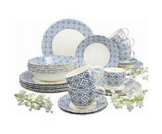 CreaTable Kombiservice, Steingut, »ORIENTAL BLUE«, weiß, Unisex, cremeweiß/blaues Dekor
