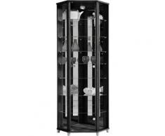 Eckvitrine, Höhe 172 cm, 7 Glasböden, schwarz, schwarz