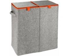 WENKO Wäschesammler »Duo Filz«, Orange, Wäschekorb, 2 Kammern, 82 l, grau, Grau/Orange