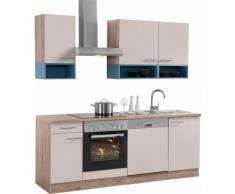 OPTIFIT Küchenzeile mit E-Geräten,»Korfu« Breite 210 cm, natur, sand glänzend