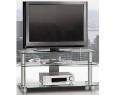 TV-Rack, Just Racks, Breite 105 cm, silberfarben, Klarglas
