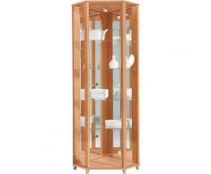 Eckvitrine, Höhe 172 cm, 4 Glasböden, natur, buchefarben