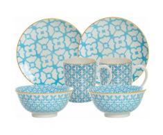 Ritzenhoff & Breker Frühstück-Set, blau, Porzellan, 6 Teile, »MAKINA«, blau, Unisex, blau/weiß/gelb