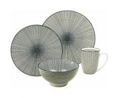 CreaTable Single Geschirr-Set, Steinzeug, 4-teilig, Dekor Sun, »New Style black«, schwarz, Unisex, schwarz/weiß