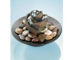 Zimmerbrunnen »Flower«, mit Steinen, grau, grau