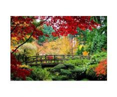 Home affaire Fototapete »Bridge in Japanese Garden«, 350/260 cm, grün, grün/rot