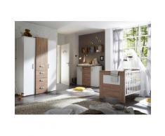 Komplettzimmer »Bergen« Babybett + Wickelkommode + Kleiderschrank, (3-tlg.) in Eiche NB / Pinie weiß NB, braun, Eiche NB / Pinie weiß NB