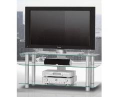 TV-Rack, Just Racks, Breite 120 cm, silberfarben, Klarglas
