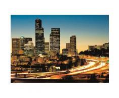 Home affaire Fototapete »City Lights«, 368/254 cm, bunt, braun/schwarz/gelb