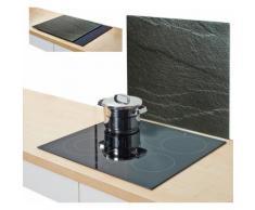 Zeller Present Herdblende-/Abdeckplatte »Schiefer«, 56 x 50 cm, schwarz, Unisex, anthrazit