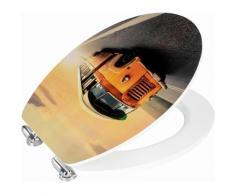 Wenko WC-Sitz Vintage Bus, Metal Plate Oberfläche, Absenkautomatik, bunt, Mehrfarbig